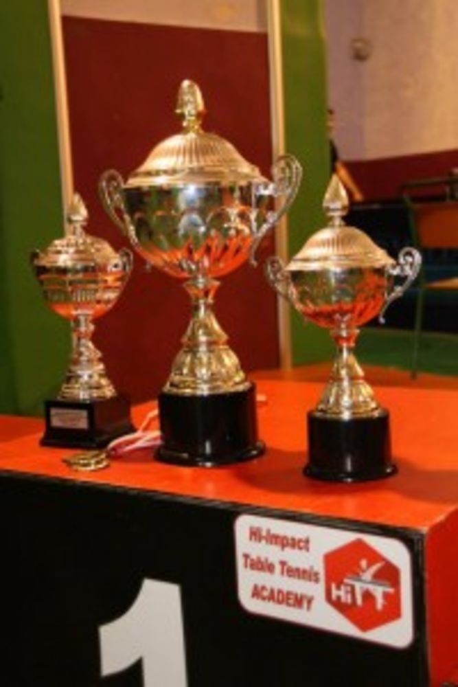 HiTT podium and trophies