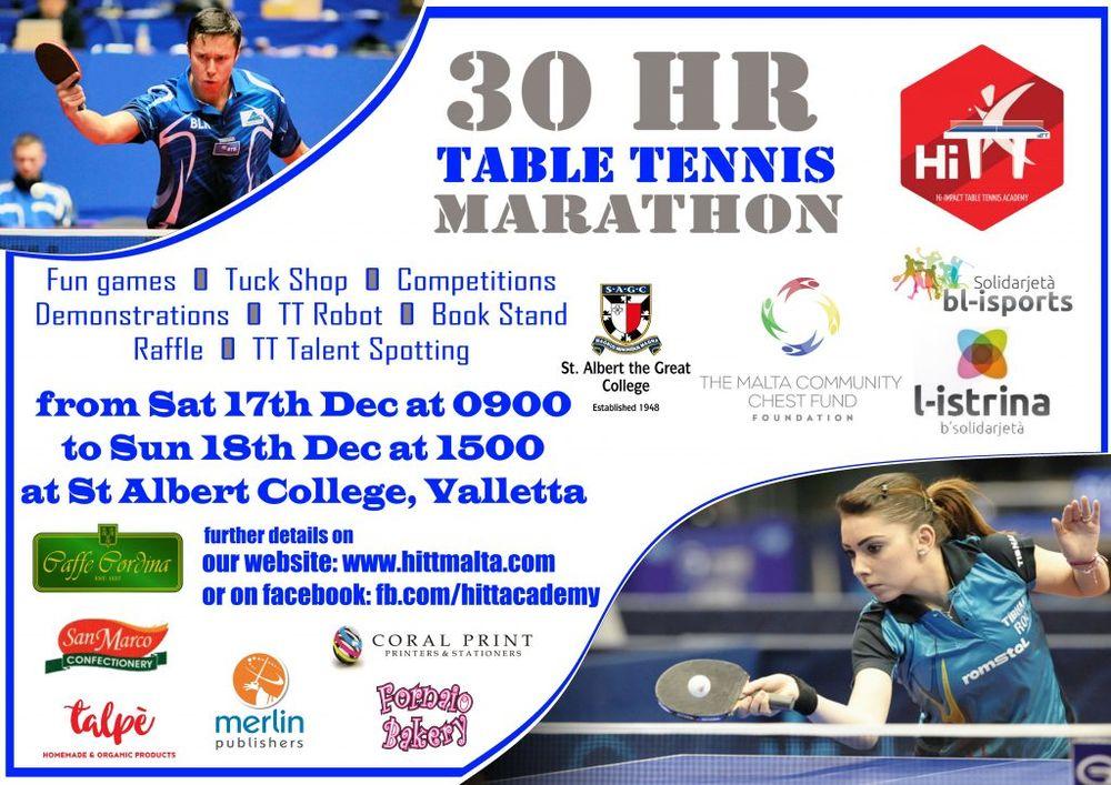 Table Tennis 30 hour marathon for istrina 2016 Malta