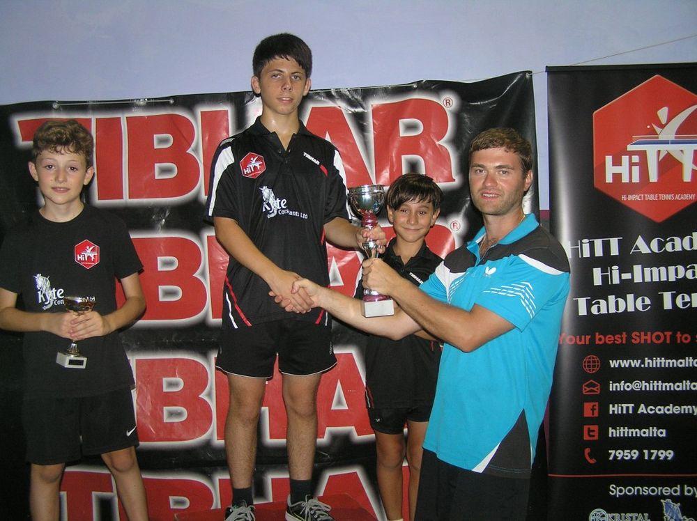 Wayne Falzon winner of the Mini Cadet category with coach Uriy Leymanovskiy