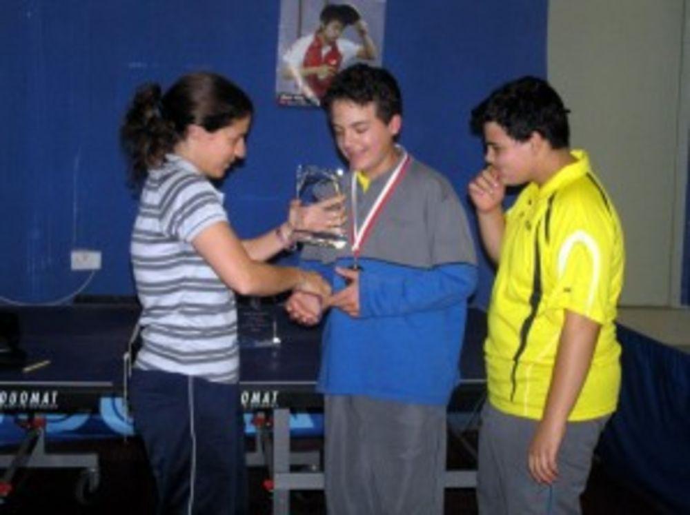 St Albert's boys receiving their trophy as runner-up in U13 Event