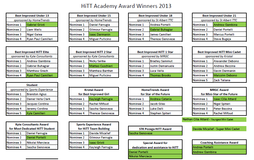 HiTT table tennis award winners malta 2013