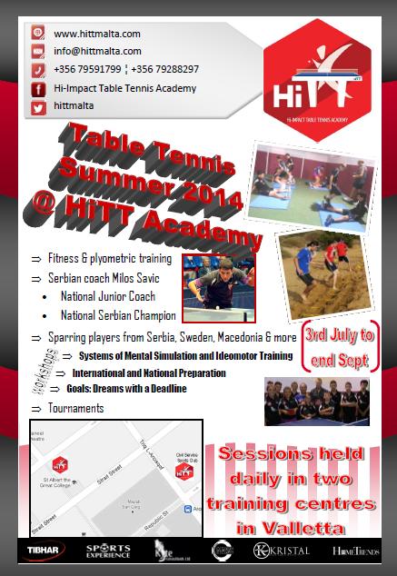 Summer Table Tennis at HiTT Academy flyer
