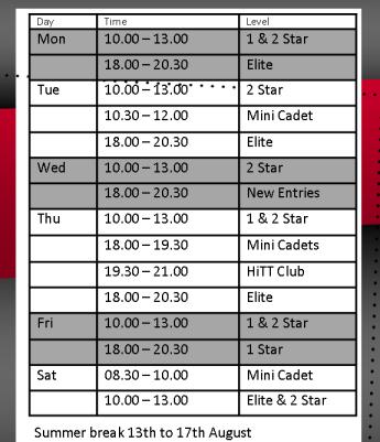 Summer Training Schedule at HiTT Academy