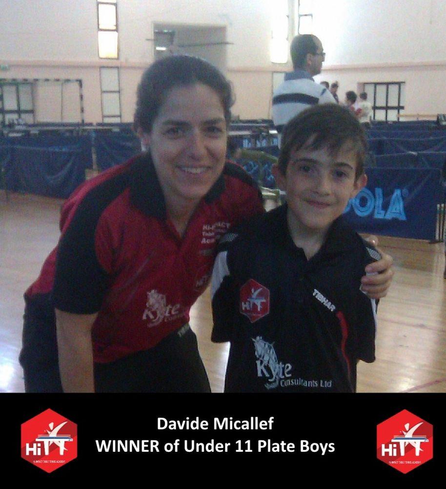 Under 11 Boys Plate Winner