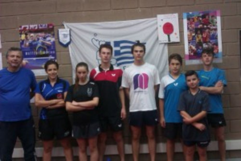 HiTT Academy coach Katia Mifsud together with Mr Theologos Kapetanidis from Friends of Table Tennis, Ioannina and a selection of the junior team — with Katia Mifsud in Ioánnina, Greece.
