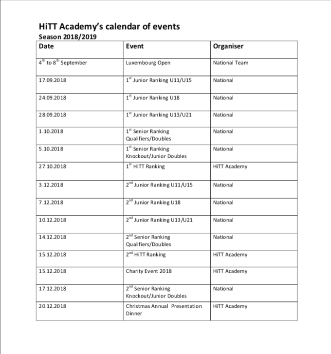 HiTT Malta Table Tennis Academy calendar of events 2018