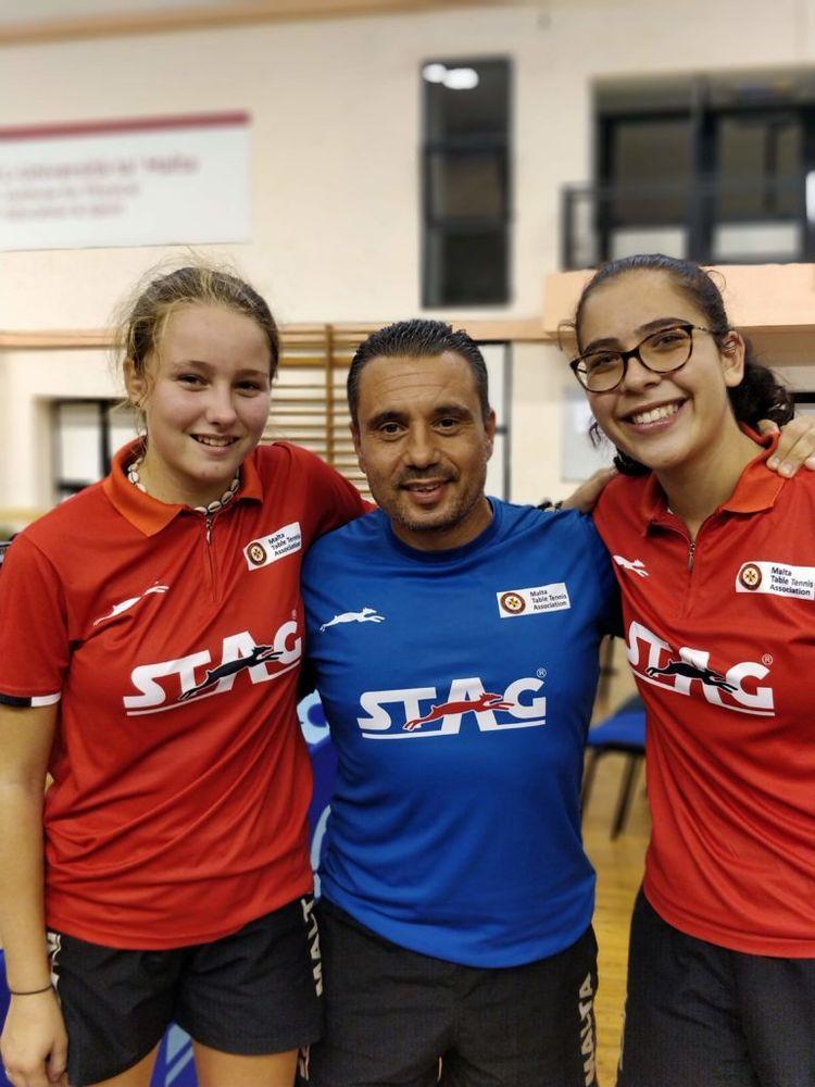 Malta Junior Girls team with coach Edward Baldacchino